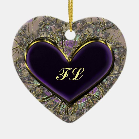 Elegant Purple Heart Monogrammed Ornament