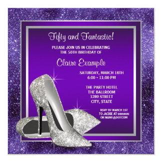 Elegant Purple High Heels Birthday Party 13 Cm X 13 Cm Square Invitation Card