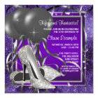 Elegant Purple High Heels Birthday Party Card