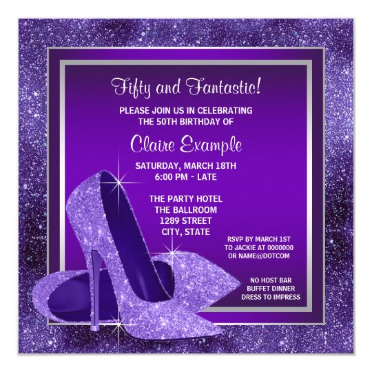 Elegant Purple High Heels Womans Birthday Party Card