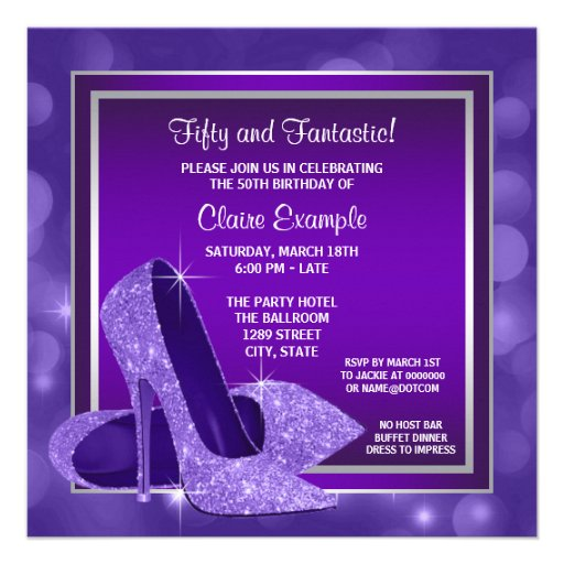 Elegant Purple High Heels Womans Birthday Party Personalized Invitations