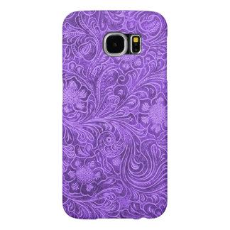 Elegant Purple Leather Look Floral Embossed Design Samsung Galaxy S6 Cases