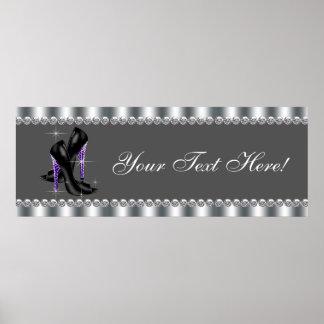 Elegant Purple Leopard High Heel Shoe Party Banner Poster