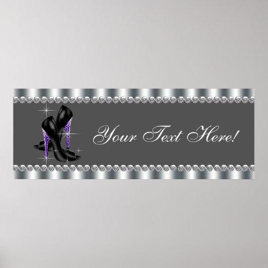 Elegant Purple Leopard High Heel Shoe Party Banner