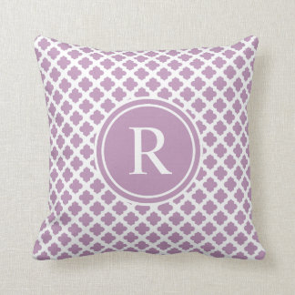 Elegant Purple Lilac Quatrefoil Monogram Cushion