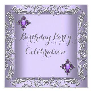 Elegant Purple Lilac Silver Jewel Birthday Party 2 13 Cm X 13 Cm Square Invitation Card