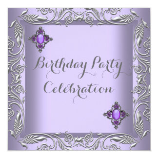 Elegant Purple Lilac Silver Jewel Birthday Party 2 Card