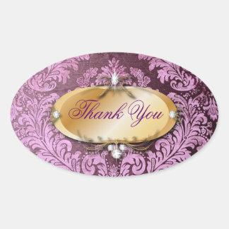 Elegant purple magenta damask Wedding Oval Sticker