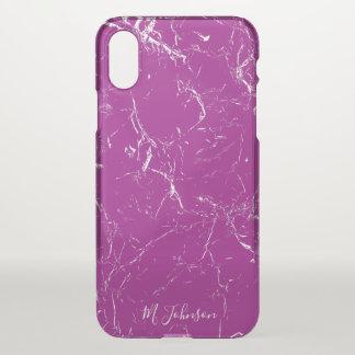 Elegant Purple Marble Personalised iPhone X Case