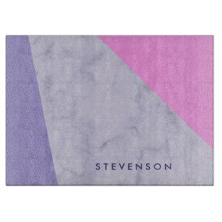 elegant purple marble pink purple color block cutting board