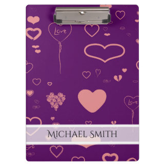 Elegant Purple Modern Heart Pattern #2 Clipboard