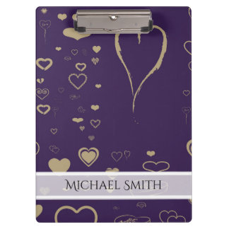 Elegant Purple Modern Heart Pattern Clipboard