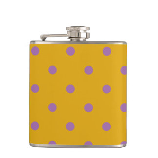 elegant purple orange polka dots hip flask