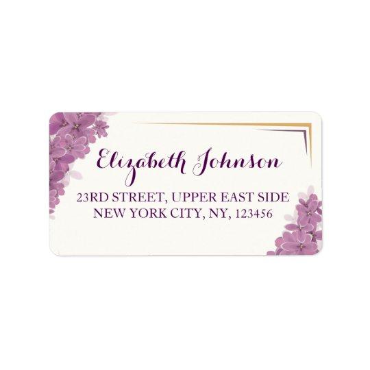 Elegant Purple orchids luxurious romantic address Label