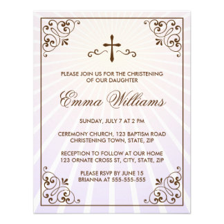 Elegant purple ornate frame christening invitation