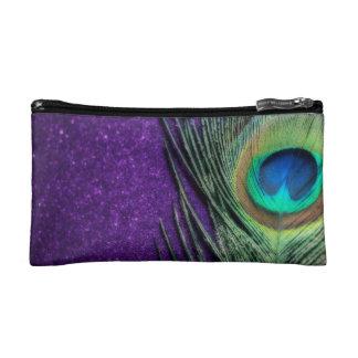 Elegant Purple Peacock Makeup Bags