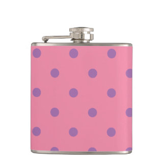 elegant purple pink polka dots hip flask
