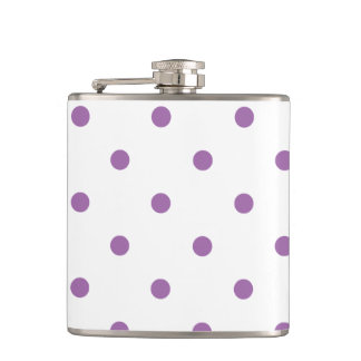 elegant purple polka dots hip flask