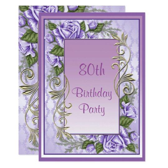Elegant Purple Rose Framed 80th Birthday Card