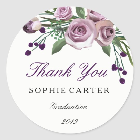 Elegant Purple Rose Graduation Thank you Sticker