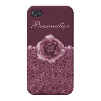 Elegant Purple Rose, Lace & Pearls iPhone 4/4S Case