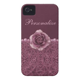 Elegant Purple Rose, Lace & Pearls iPhone 4 Case