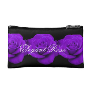 Elegant Purple Rose Small Cosmetic Bag