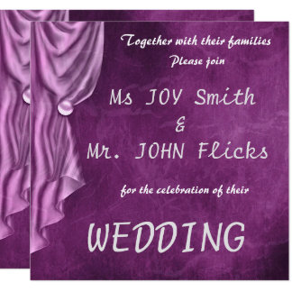 Elegant Purple Satin Square Wedding Invitation