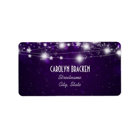 Elegant Purple Shimmering Stars Christmas Address Label