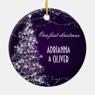 Elegant Purple Shimmering Tree  First Christmas Round Ceramic Decoration