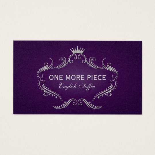 Elegant Purple & Silver Crown Frame Business Card