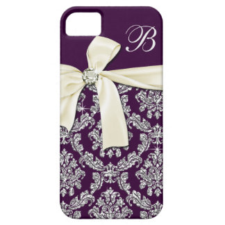 Elegant Purple Silver Damask Diamond Bow Monogram iPhone 5 Case