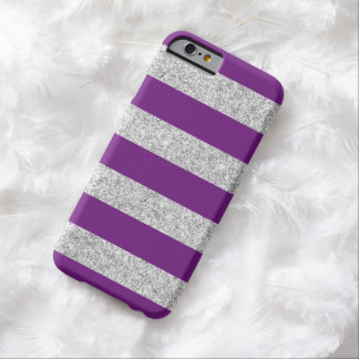 Elegant Purple Silver Glitter Stripes Pattern Barely There iPhone 6 Case