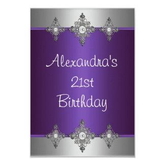Elegant Purple Silver Jewel 21st Birthday Card