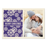 Elegant  PURPLE Snowflake Holiday Photo Card Personalized Announcements
