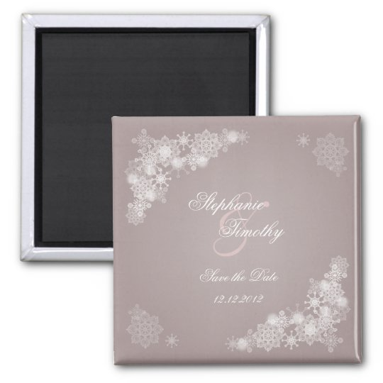 Elegant purple snowflakes save the date magnet