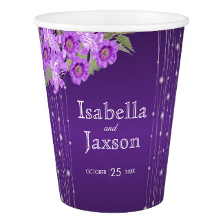 Elegant Purple String Lights Floral Wedding Paper Cup