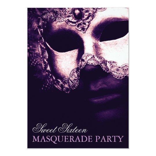 Elegant Purple Sweet 16 Masquerade Party Invites