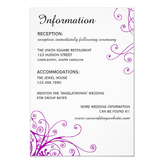 Elegant Purple Swirls Wedding Information card