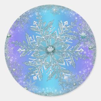 Elegant Purple Teal Blue Snowflake Stickers