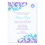 Elegant Purple Teal Flourish Bat Mitzvah 13 Cm X 18 Cm Invitation Card