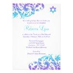 Elegant Purple Teal Flourish Bat Mitzvah Personalized Invitations