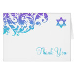 Elegant Purple Teal Flourish Bat Mitzvah Thank You Note Card