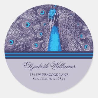 Elegant Purple Teal Peacock Address Label Sticker