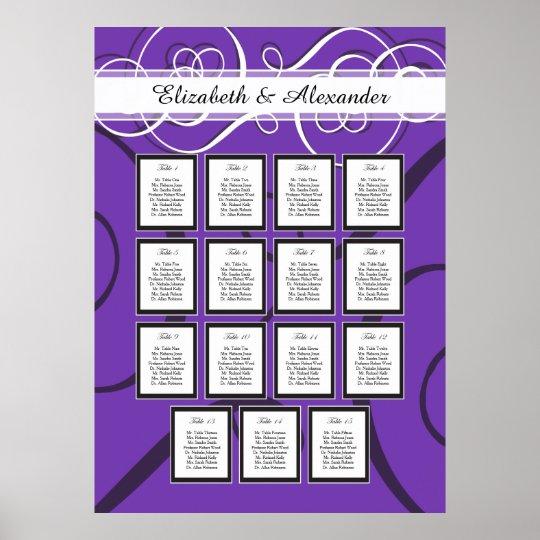 Elegant Purple Wedding 15 Table Seating Chart