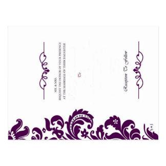Elegant Purple Wedding Invite And RSVP Postcard