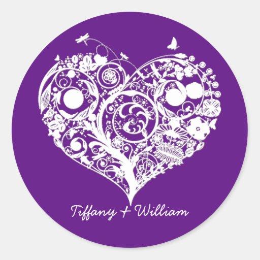 Elegant Purple & White Heart Wedding Sticker