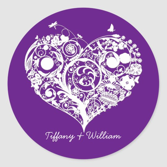 Elegant purple white heart wedding sticker