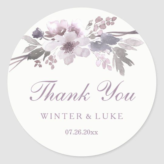 Elegant Purple Winter Floral Wedding Thank You Classic