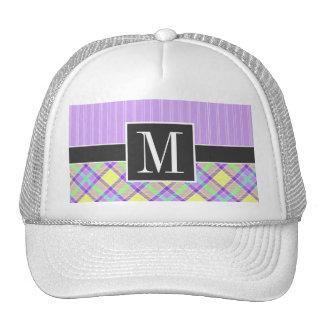 Elegant Purple Yellow Plaid Mesh Hats